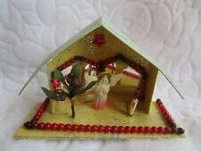 Vintage Putz House&Mirrors&Cel luloid Angel&Mercury Glass Xmas Decoration Rare