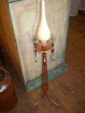 DANISH TALL COPPER CANDLE STAND,STICK SET WITH TEARDROP CANDLE AND CRYSTALS