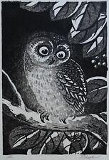 Tomikichiro Tokuriki, Ural Owl, Japanese Print, Woodcut, 1960s, Framed