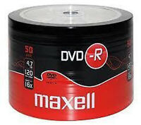 50 MAXELL 4.7GB 120mins DVDR DVD-R BLANK DISCS RECORDABLE DVD 16x DVDS DISC