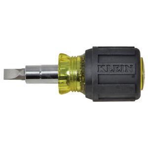 Klein Tools 32561 6-in-1 Multi-Bit Screwdriver / Nut Driver, Stubby