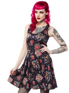 Sourpuss Punk Rock Girl Traditional Tattoos Art Gothic Skater Dress SPDR488