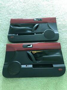2003-2010 Volkswagen Beetle Convertible Left Right Door Panels Pair Red / Black