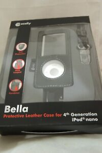 MACALLY BELLA Leather Case cover w/ carabiner clip Lanyard iPod Nano 4th Gen