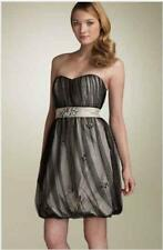 PHOEBE COUTURE Kay Unger DRESS 4 Black Strapless Mesh Overlay Beaded Formal Prom