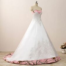 Ball Gown Camo Wedding Dress Formal Pink Camouflage Embroidery Bridal Gowns