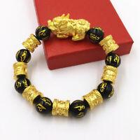 Feng Shui Black Obsidian Alloy Wealth Bracelet Quality Original Natural Stone