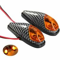 2x Flush Mount Motorcycle Bike LED Turn Signal Amber Light Carbon Indicator Lamp