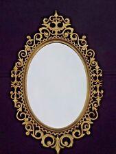 Vintage Burwood Products Gold Gilt Ornate Hollywood Regency Oval Wall Mirror