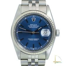 Rolex Datejust 16234 Stainless Steel Metal Blue Index Dial & Fluted Bezel Watch