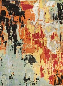 Contemporary Wool/ Silk Artistic Abstract Oriental Area Rug Hand-knotted 8'x10'