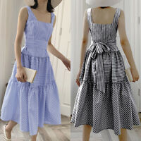 Size Womens Holiday Strappy Tie Belt Ladies Summer Beach Midi Swing Sun Dress UK