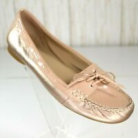 Ellen Tracy Leather Moccasin Flats Nude Gold Size 7.5 M Womens Baldwin Loafer