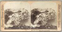 Monaco Panorama Del Rocher Foto Stereo Vintage Albumina 1899