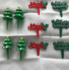 10 Vtg Plastic Christmas Cake Toppers Trees Happy Holidays Merry Christmas