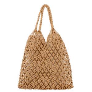 Khaki Women Straw Bag Cotton Rope Travel Beach Fishing Net Handbag  Shoulder Bag