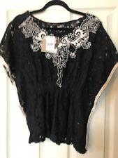 Heart Soul Black Lace Dolman Sleeve Size Medium New