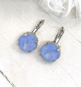 12mm Blue Opal Earrings Drop Earrings made w/ Air Blue Opal Swarovski Crystals