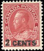 Mint H Canada 1926 2c on 3c F+ Scott #139 Provisional KGV Admiral Stamp