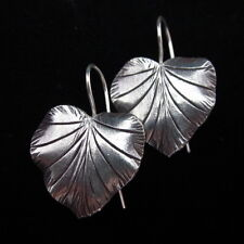 Hill Tribe Fine Sterling Silver Earrings Nature Leaf Plant Poh Ethnic Handcraft
