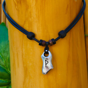 Lederkette Wunjo Rune Wikingerschmuck Wikingerkette Halskette Halsband Odin Thor