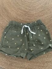 J.crew Crewcuts Olive Green Gold Stars Shorts Size 4