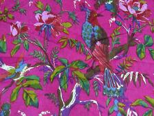 10 Yard Ethnic Pink Bird 100 % Screen Print Indian Cotton Fabric Sewing Decor