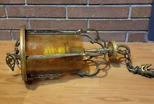 Antique Amber Crackle Glass Brass Hanging Light Chandelier Fixture Ornate Goth