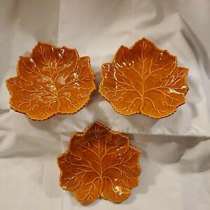Olfaire Portugal Art Pottery Maple Leaf Glazed Trinket Dish Fall Decor (3)