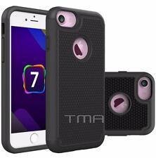 Fits iPhone 7 Case Shockproof Rugged Rubber Impact Hybrid Armor Cover - Black