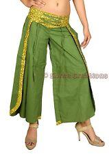 Women's Cotton Green Harem Pants Palazzo Dance Trouser Yoga Hippie Baggy Genie
