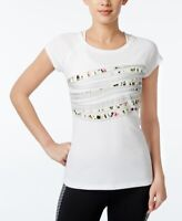 Ideology Womens Graphic T-Shirt Bright White Size XX-Large