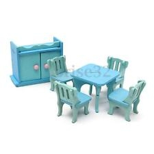 6Pcs Blue Wooden Miniature Dining Room Table Set For Dolls Dollhouse Furniture
