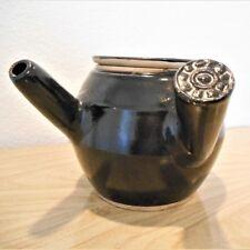 Japanese war pottery antique vintage black unique design tea pot