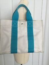 HERMES BORA BORA GM GENTLY USED WHITE CANVAS BAG WITH TURQUOISE STRIP