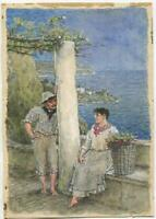 ANTIQUE TO VINTAGE PAINTING GRAPE VINES VINEYARD OCEAN SEA VILLAGE W/C PAINTING