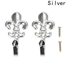 2x Vintage Metal Flower Curtain Hold Back Hook Tie Back Holders Wall Door Hooks