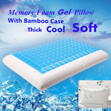 Cooling Gel Memory Foam Flat Pillow with Orthopedic Bed Pillow Case Reversible