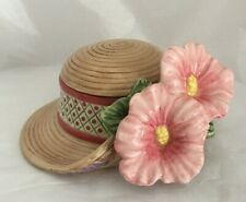 Fitz and Floyd Pink Flowers Trinket Box Candy Dish Essentials Hat Shaped