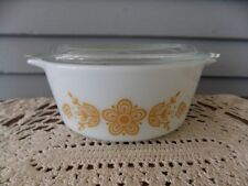 Vintage Pyrex 472-B Butterfly Gold Round Casserole Dish 1.5 pt with Glass Lid