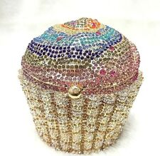 Multi-color Gold Cupcake Shaped~ Handmade Austria Crystal 3D Shaped Cocktail Bag