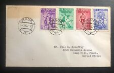 1961 Tirana Albania Cover To Camp Hill Pa USA Complete Stamp Set Sc#544-7