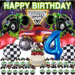 Monster Jam 4th Party Supplies Decorations Balloons Grave Digger 4 Years Old for