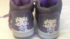 BETTY BOOP -scarpe alte da bambina - grigie con stringhe viola - N° 32  USATE