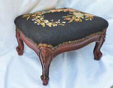 French Mahogany Needlepoint Wood Footstool / Small Ottoman Los Angeles Area