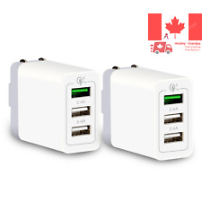 Quick Charge 3 0 Wall Charger 2 Pack 30W 3-Port QC 3 0 2 4A 2 USB Portable Tr...