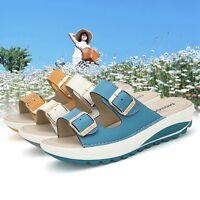 New Women Summer Slides Low Heel Slipper Leather Sandals Open Toe Platform Shoes