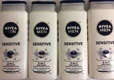 NEW!! LOT of 4 Nivea For Men **SENSITIVE** Body Wash 3-in-1 Body, Hair & Face