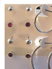 Crystal Earrings Silver Hoop Earrings SET of 6 Amethyst Pink Crystal