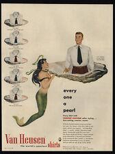 1948 SEXY TOPLESS MERMAID & Man In Clam Shell - Pearl - VAN HEUSEN VINTAGE AD